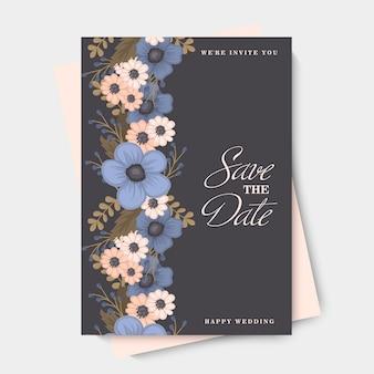 花の境界線の背景-青い花
