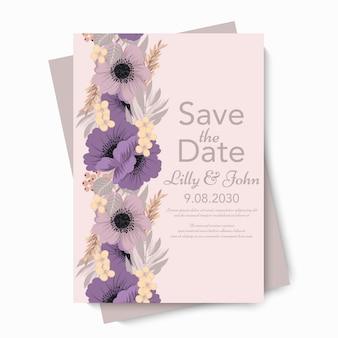 花のウェディングカードの招待状。
