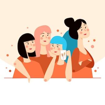 笑顔の女の子のグループ