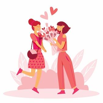 Пара влюбленных девушек