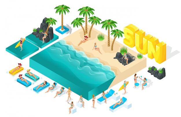 Изометрические мультипликационные люди, девушка в купальниках, большой набор элементов для создания ее пляжа с красивыми морскими волнами яркой летней иллюстрации