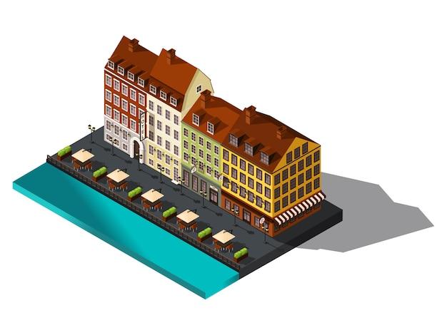 Изометрические значок, улица от старого дов на берегу моря, отель, ресторан, дания, копенгаген, париж, исторический центр города, старинные здания