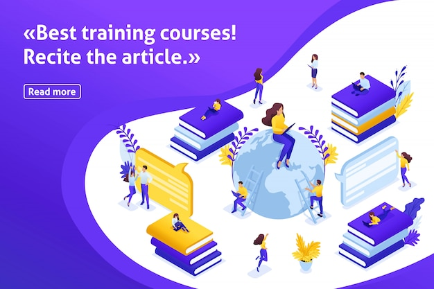 Шаблон дизайна статьи баннер, изометрические концепции поиска лучших электронных курсов, онлайн процесс обучения. общение студентов и преподавателей через интернет
