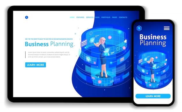 ビジネスウェブサイトテンプレート。等尺性概念ビジネスマンの仕事、拡張現実、時間管理、事業計画。編集とカスタマイズが簡単、レスポンシブ