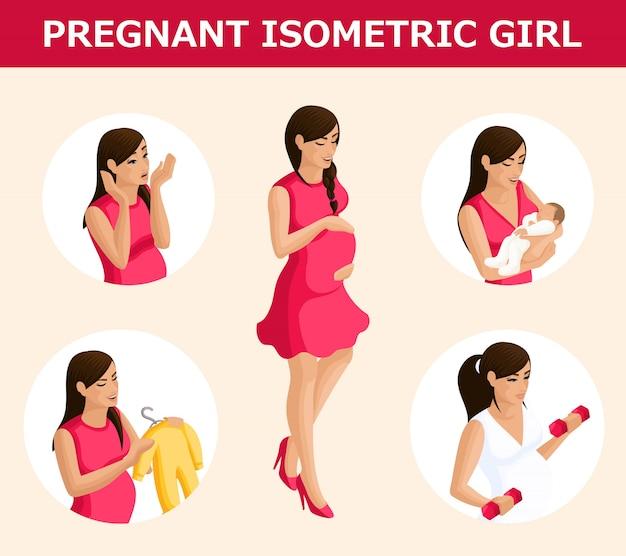 質的アイソメトリー、さまざまな状況での妊娠中の女性のセット、感情的なジェスチャー、インフォグラフィックの基礎