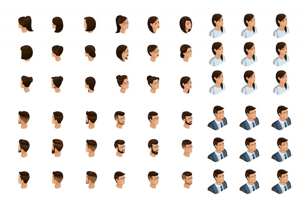 定性的アイソメトリは、アイソメのキャラクターのヘアスタイルと感情のセットの詳細な研究です。男性と女性の感情。正面図と背面図