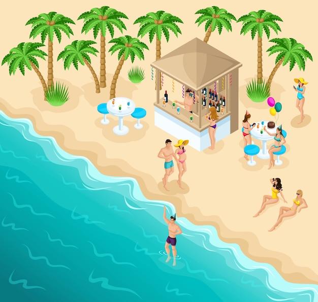 Изометрический морской пляж с красивым баром и расслабляющими людьми