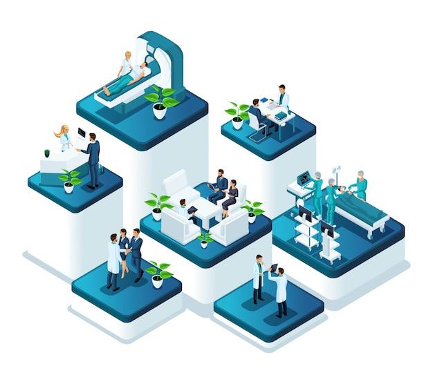 病院の医療関係者の仕事の等尺性医師コンセプト。クリニックでの治療の概念と外科手術の実施