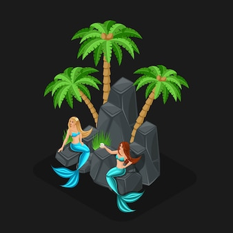 Игровой концепт мультфильма со сказочными персонажами, русалками, девочками, морем, рыбками, островами, камнями, океаном. иллюстрация
