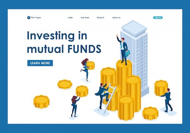 等尺性のビジネスマンは、投資会社、金融商品のランディングページにお金を運ぶ