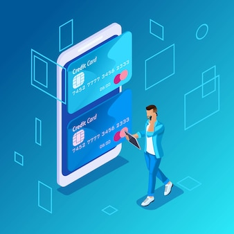 Красочная концепция на синем фоне, управление онлайн кредитными картами, молодой человек звонит в колл-центр для перевода денег с карты на карту