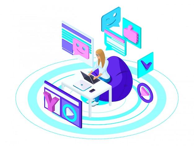はスマートフォンを持つ少女で、ブログをソーシャルネットワークに保管し、ビデオを録画して視聴し、友達と話します。広告コンセプト