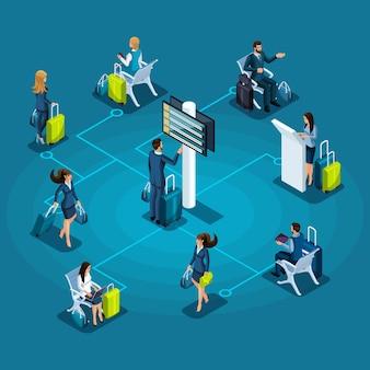 インフォグラフィック空港サービスのコンセプト、荷物を持つ乗客、待合室の乗客、飛行機のイラストを待っています。