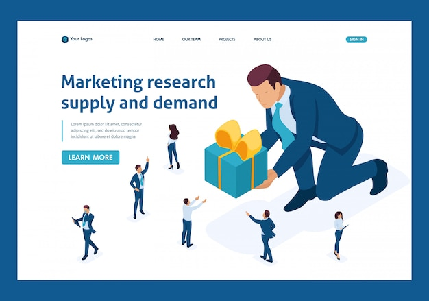 Изометрические целевую страницу концепции маркетинга маркетинговых исследований с использованием фокус-групп.