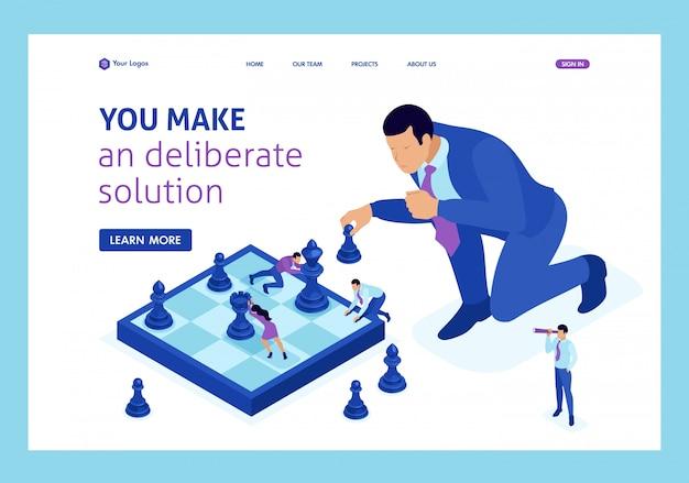Изометрический большой бизнес принимает взвешенное решение, шахматная игра, стратегия роста