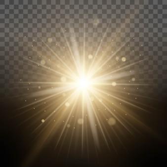 明るいグロー光の魔法の照明、透明なレンズ効果