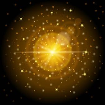日光の影響を受けた明るい高品質の金パターンは、新年やクリスマスに最適です。明るいレンズ効果ライトと魔法のイルミネーションを設定するように設計されています。