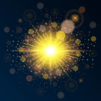 Яркий высококачественный золотой свет на новый год и рождество. используйте эффект яркого солнечного света.