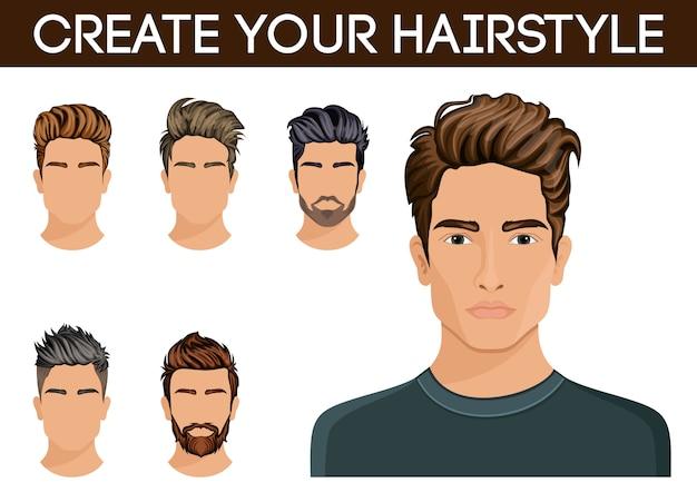 ヘアスタイルを作成、変更します。男性の髪型のヒップスターのひげ、口ひげの男性スタイリッシュでモダン。