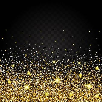 金色の光沢のある豪華なデザインの背景の下から飛ぶ効果。暗い背景。スターダストは透明な背景で爆発を引き起こします。豪華な黄金のテクスチャ