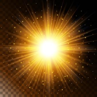 輝く光の効果の星、輝く太陽の光の黄色の輝きのセット。