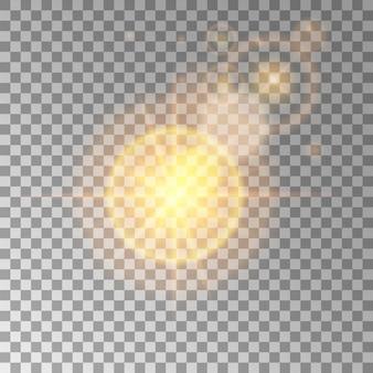 日光の影響を受けた明るい高品質の金は、新年やクリスマスに最適です。レンズが魔法のイルミネーションを照らすように設計されています。