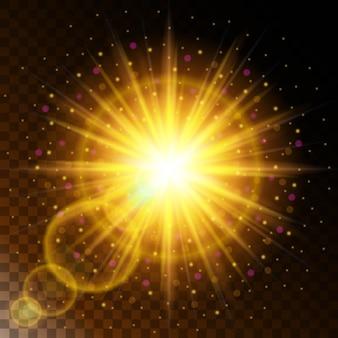 輝く光の効果の星、透明な背景の上で輝きと日光暖かい黄色の輝きのセット。