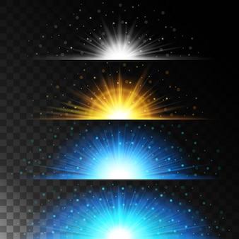 リアルな照明効果を設定します。輝く星。光とキラキラ。黄色のボールの魔法のような境界線を輝かせます。