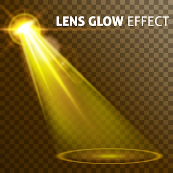 ランプの明るいまぶしさ、さまざまな形状と投影のセットを照らす現実的な黄色の光を設定します