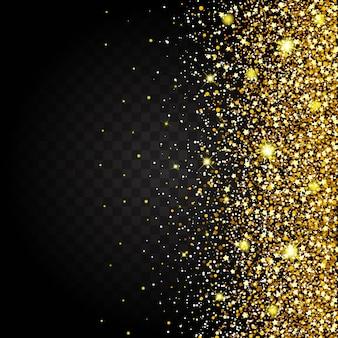 金色の光沢のある豪華なデザインの豊かな背景の側面からの飛行の効果。暗い背景。スターダストは透明な背景で爆発を引き起こします。豪華な黄金のテクスチャ