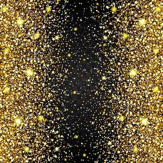 ゴールドグリッターの豪華な豪華なデザインの背景を飛んでいる部品の効果。暗い背景。スターダストが透明な背景で爆発を起こす