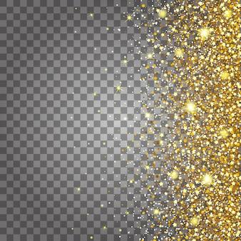 ゴールドグリッターの豪華な豪華なデザインの背景を飛んでいる部品の効果。横から明るい灰色の背景。スターダストが透明な背景で爆発を起こす