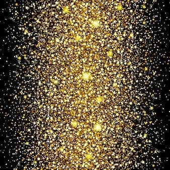 豊かな背景の金の光沢の豪華なデザインの真ん中を飛んでの効果。暗い背景。スターダストは透明な背景で爆発を引き起こします。