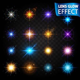 レンズグロー効果。光の効果の大きなセット。レンズの効果、太陽の輝き、明るい光。