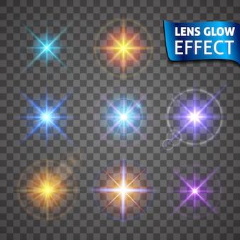 レンズグロー効果。輝く光のまぶしさ、明るくリアルな照明効果。