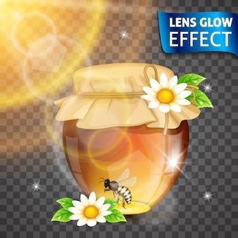 レンズグロー効果。蜂蜜、蜂蜜バンク、花、蜂、太陽の輝く効果。明るい光、まぶしさ、レンズ効果。