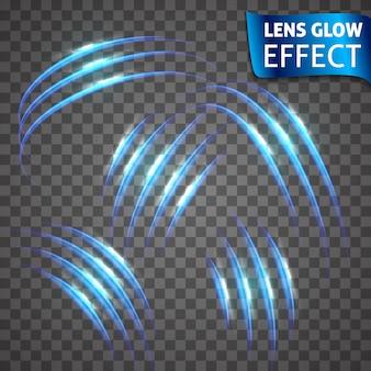 レンズグロー効果。ネオンシリーズの猫スクラッチセット。明るいネオン輝く効果。抽象的な輝く亀裂、模倣効果の速度