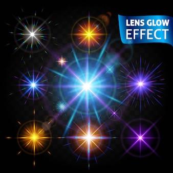 レンズグロー効果。輝く光の反射、現実的な明るい光レンズ効果のセット。デザインを使用して、休日のために輝きます。