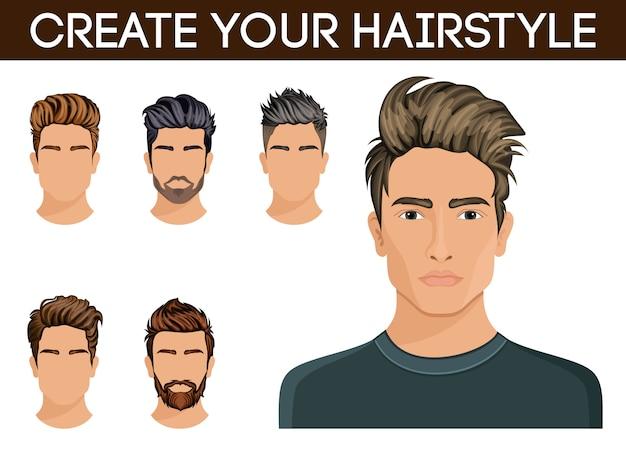 男性の髪のスタイルシンボルひげ、口ひげあごひげヒップスター男性。