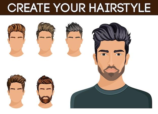 Мужская прическа, символ хипстерская борода, усы мужские, стильные, современные
