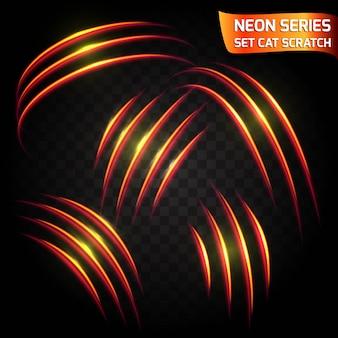 ネオンシリーズの猫スクラッチセット。明るいネオン輝く効果。抽象的な輝く亀裂、速度模倣真っ赤な効果。
