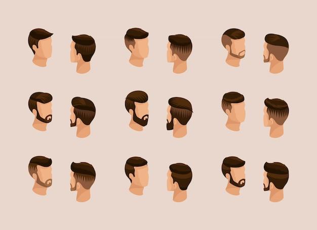 人気のアイソメトリック品質調査、男性のヘアスタイル、ヒップスタースタイルのセット。ファッションスタイリング、ひげ、口ひげ。正面図背面図