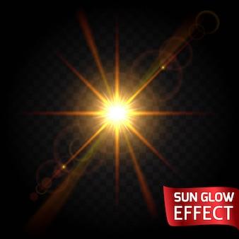 Эффект свечения солнца установлен на темном фоне прозрачным. восход, закат, лучи бликов светятся. яркий рассеивающий свет