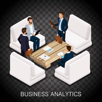トレンディな等尺性ビジネスマン、ビジネスセンター、分析、モダンな家具、高品質の仕事。透明な背景で計画し、ビジネスアイデアを作成する