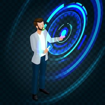 画面の未来に取り組んでいるトレンディな等尺性のスタイリッシュなビジネスマン、ボタンを押す、ビジネスアイデアを作成する