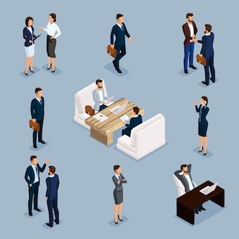 Изометрические бизнесмены, мужчины и женщины в деловых костюмах