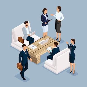 等尺性のビジネスマン、ビジネススーツの男性と女性