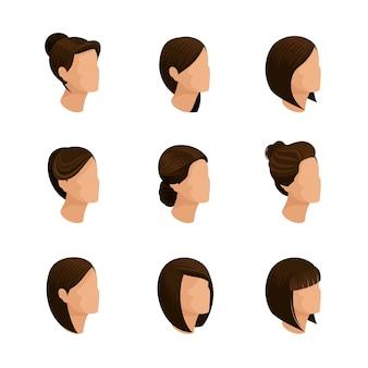 トレンディな女性の髪型等尺性分離と白い背景