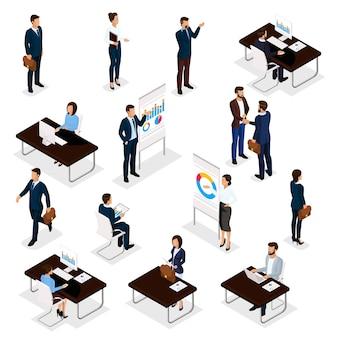 白い背景で隔離のオフィスビジネススーツの男性と女性のビジネス人々等尺性セット。