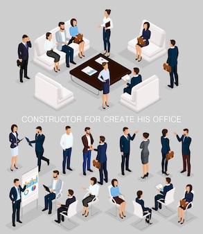 彼のイラスト会議を作成するビジネス人々等尺性セット